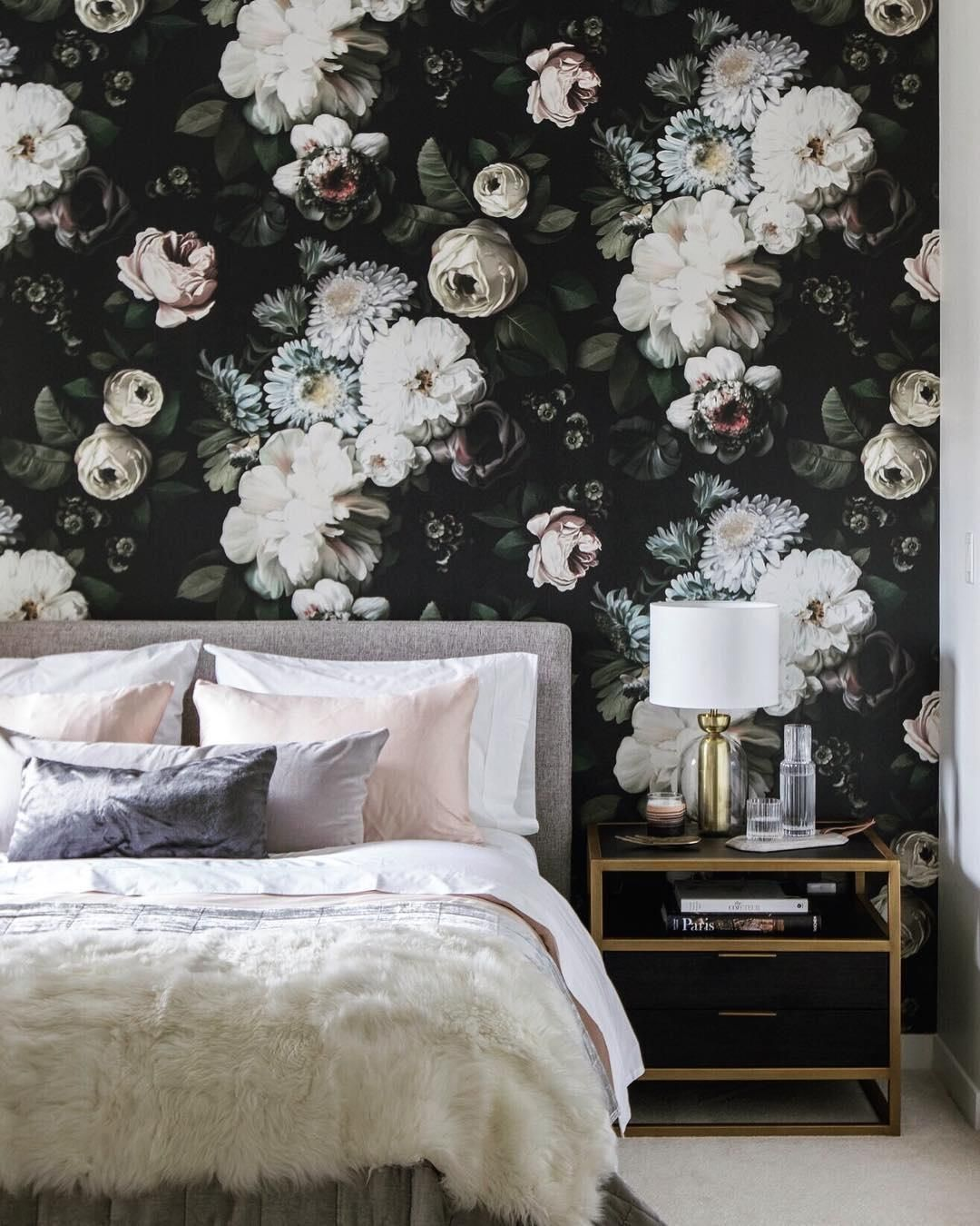 Ellie Cashman Dark Floral Wallpaper Floral Wallpaper Bedroom