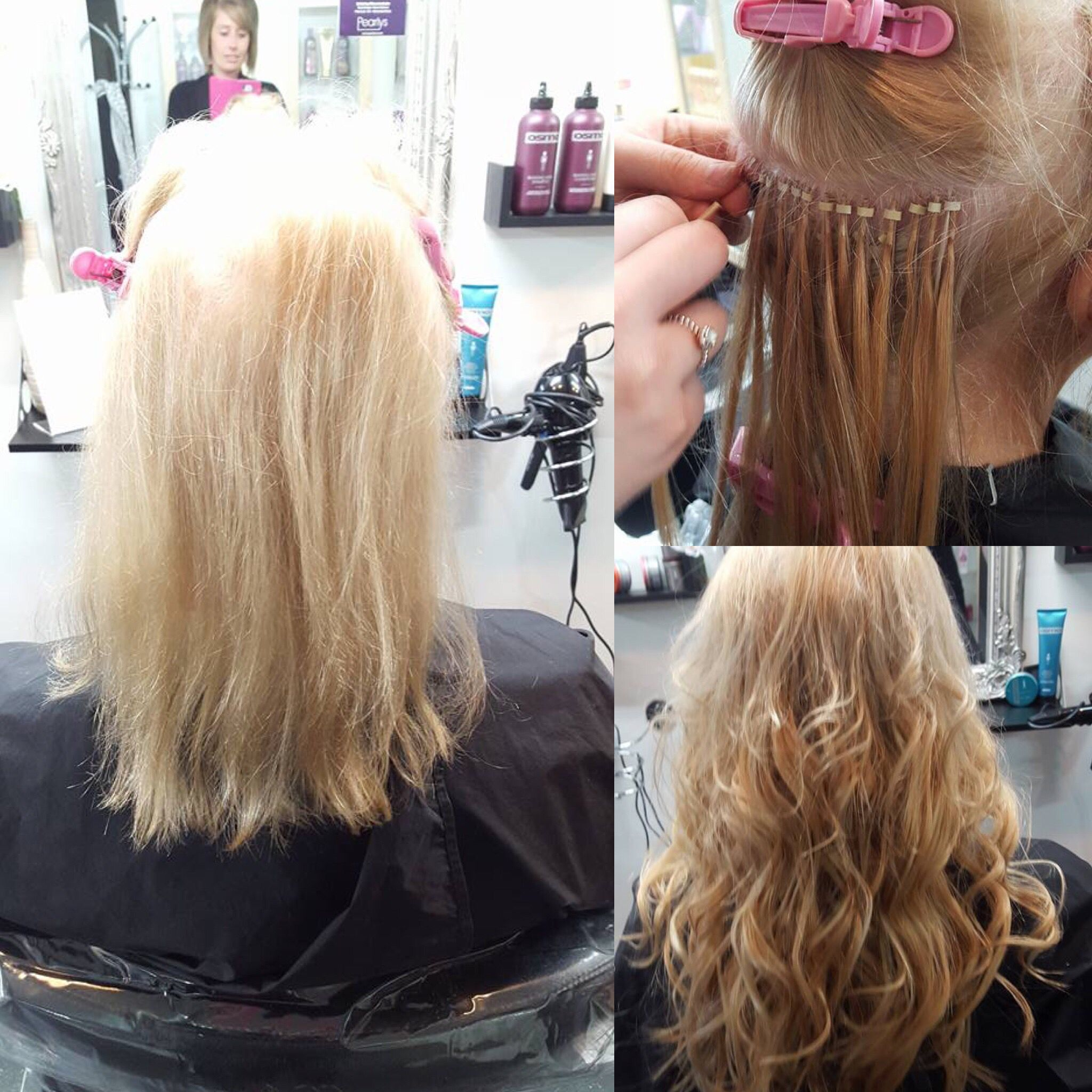 Micro rings before during and after European hair