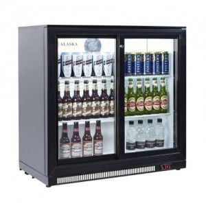 Back Bar Double Glass Sliding Door Under Counter Beer Fridge Cooler Beer Fridge Beer Pub Double Sliding Doors