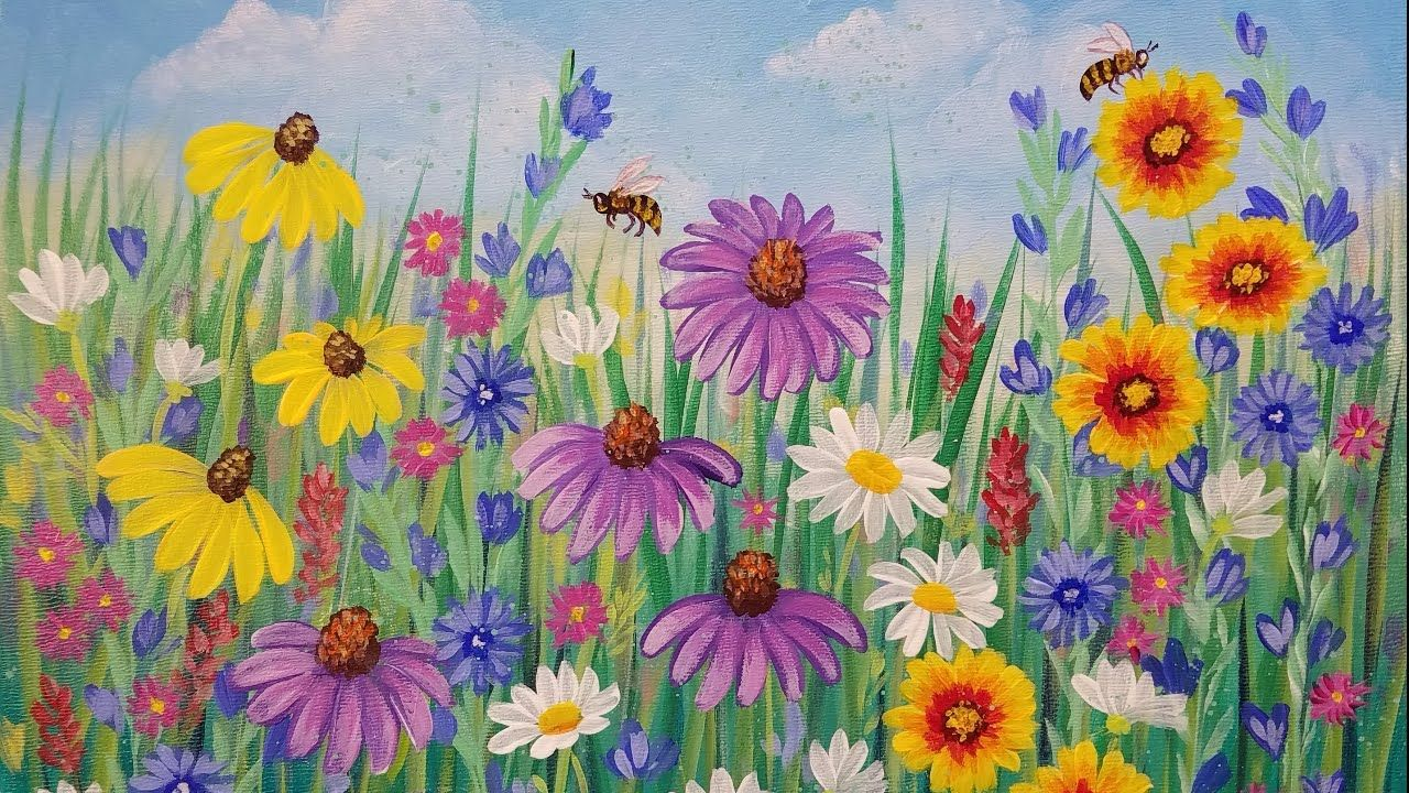 Learn How To Paint Simple Step By Step Flowers With Acrylic In This Free Painting Tutorial Acrylic Painting Flowers Flower Painting Acrylic Painting Tutorials