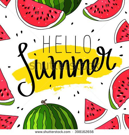 Hello Summer inscription on the background of watermelon. Green fashion. Vector illustration on white background. Trend calligraphy. Smear of yellow ink. Happy youth gift.