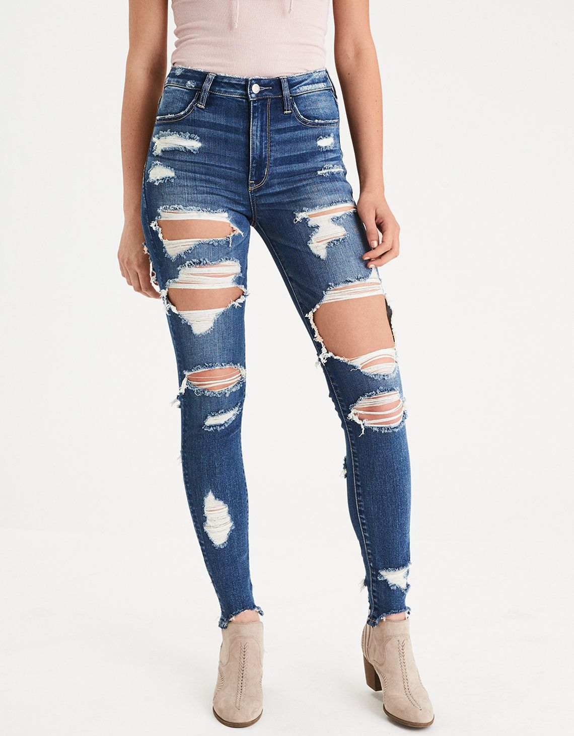 689ab94347 AEO DENIM X SUPER HI-RISE JEGGING - shredder indigo - $69.95 | 18th ...
