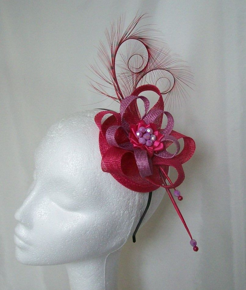 Cerise Pink & Lavender Delilah Fascinator Mini Hat, Order Now from www.indigodaisyweddings.co.uk Specialising in stunning bespoke cocktail fascinators and formal hats in a wide range of colours, perfect for Royal Ascot and The Kentucky Derby. Plus all your wedding floral accessories including shoe clips, bandeau veils,vintage flapper bands, feather and flower fascinators, feather fans, fairy wands, wrist corsages, wedding bouquets & buttonholes. Worldwide Delivery.