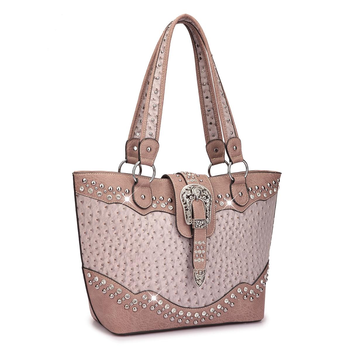 0c747988b4 Dasein Western Style Embossed Ostrich Rhinestone Buckle Tote Handbag ...