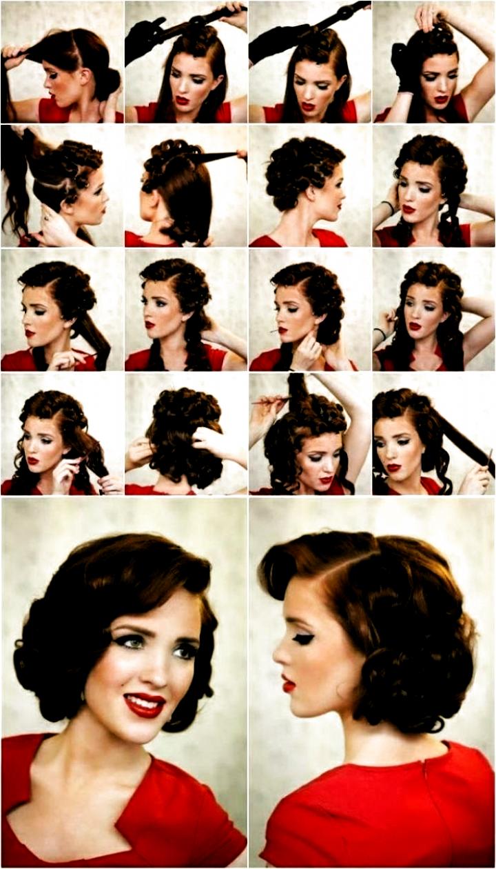 Rockabilly Frisur rotes Kleid schwarte Haare Schritt für Schritt