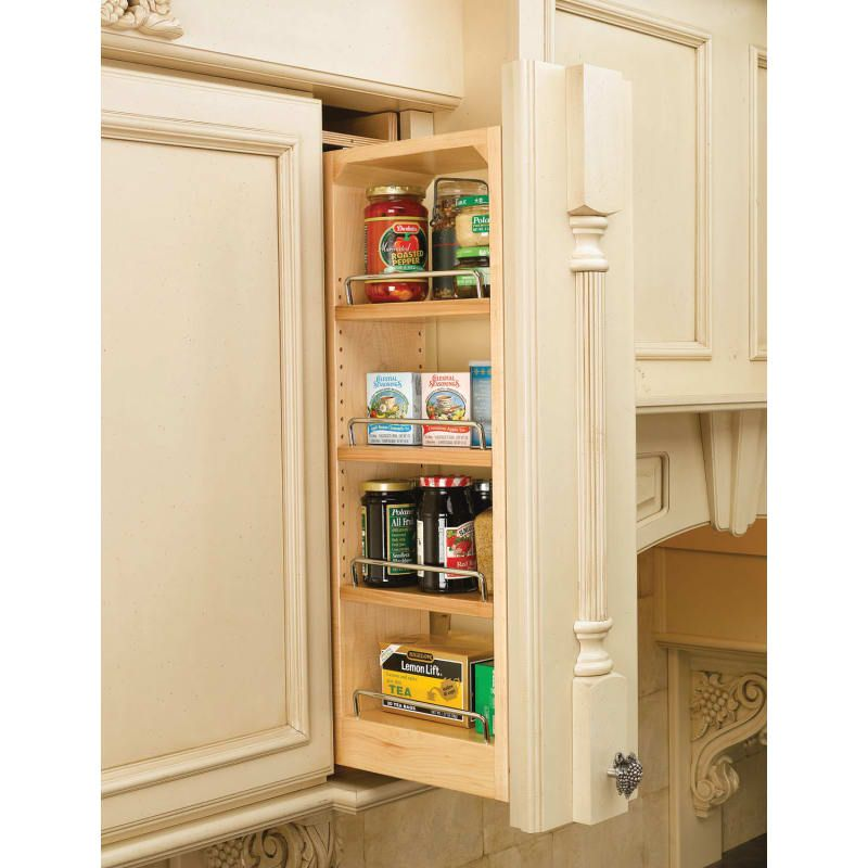 Rev A Shelf 432 Wf39 6c 39 Inch Tall 6 Wide Wall Filler Pull Out Organizer Natural Wood Upper Cabinet Organizers Fillers Shelves