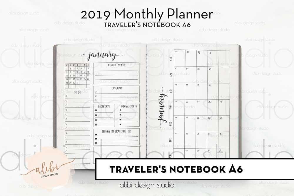 TN A6, Monthly Planner, Traveler's Notebook, 2019 Calendar