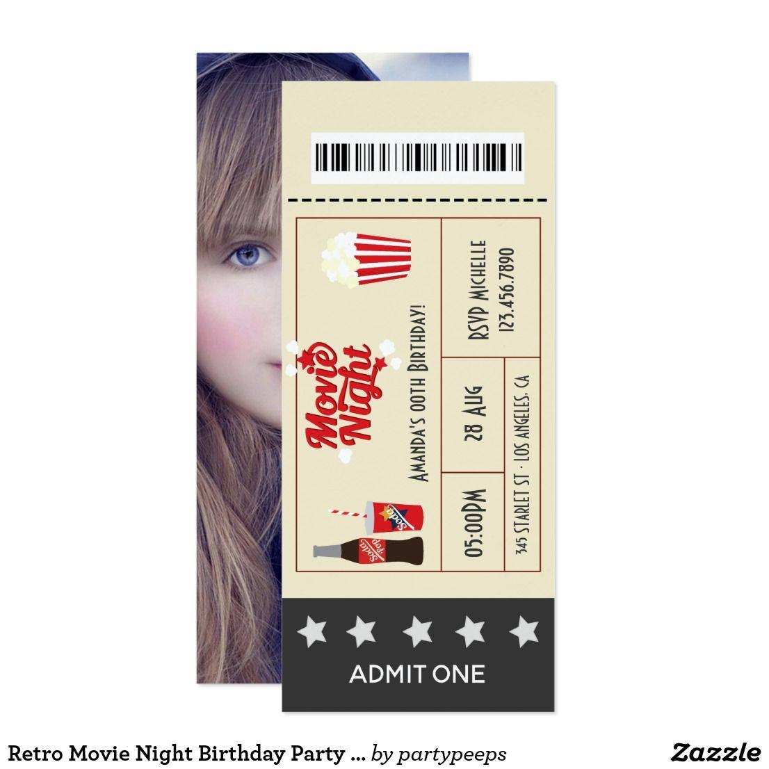 Retro Movie Night Birthday Party Ticket add photo Invitation ...