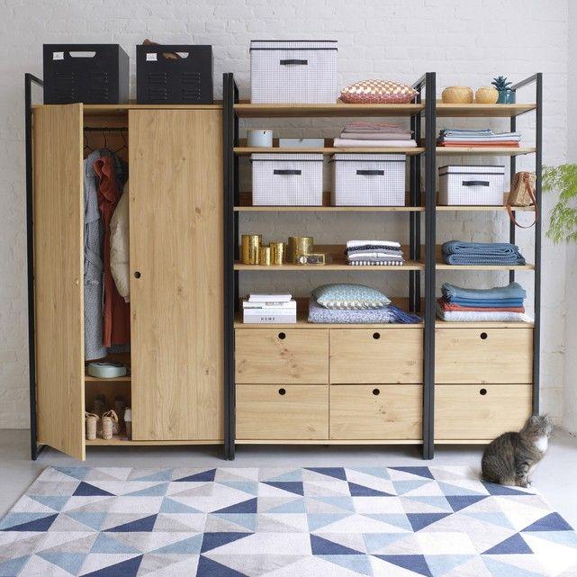 fd803fed1 Módulo ropero 3 estantes y 1 ropero hiba madera/metal La Redoute Interieurs    La Redoute