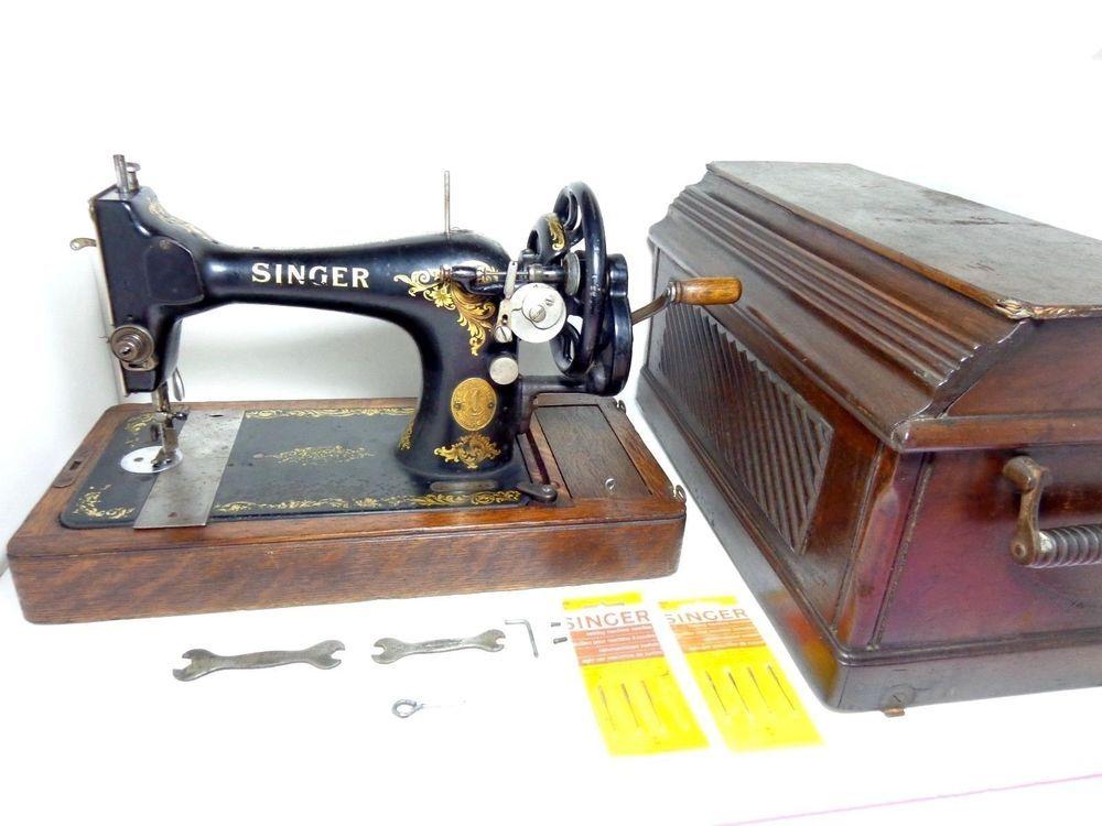 Antique 40 Singer Hand Crank Sewing Machine Victorian Coffin Classy 1915 Singer Sewing Machine