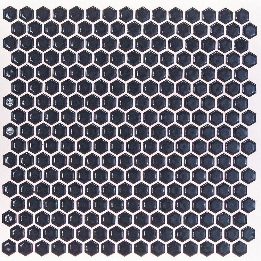 Eden Royal Blue Hexagon Polished Rimmed Ceramic Tile Fixtures