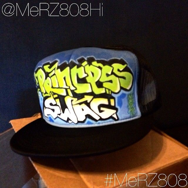 Some Princess Swag Custom Graffiti Hat By Merz Old School Flat Bill Trucker Check Me Out On Ig Merz808hi Sold Through Etsy Or Paypal