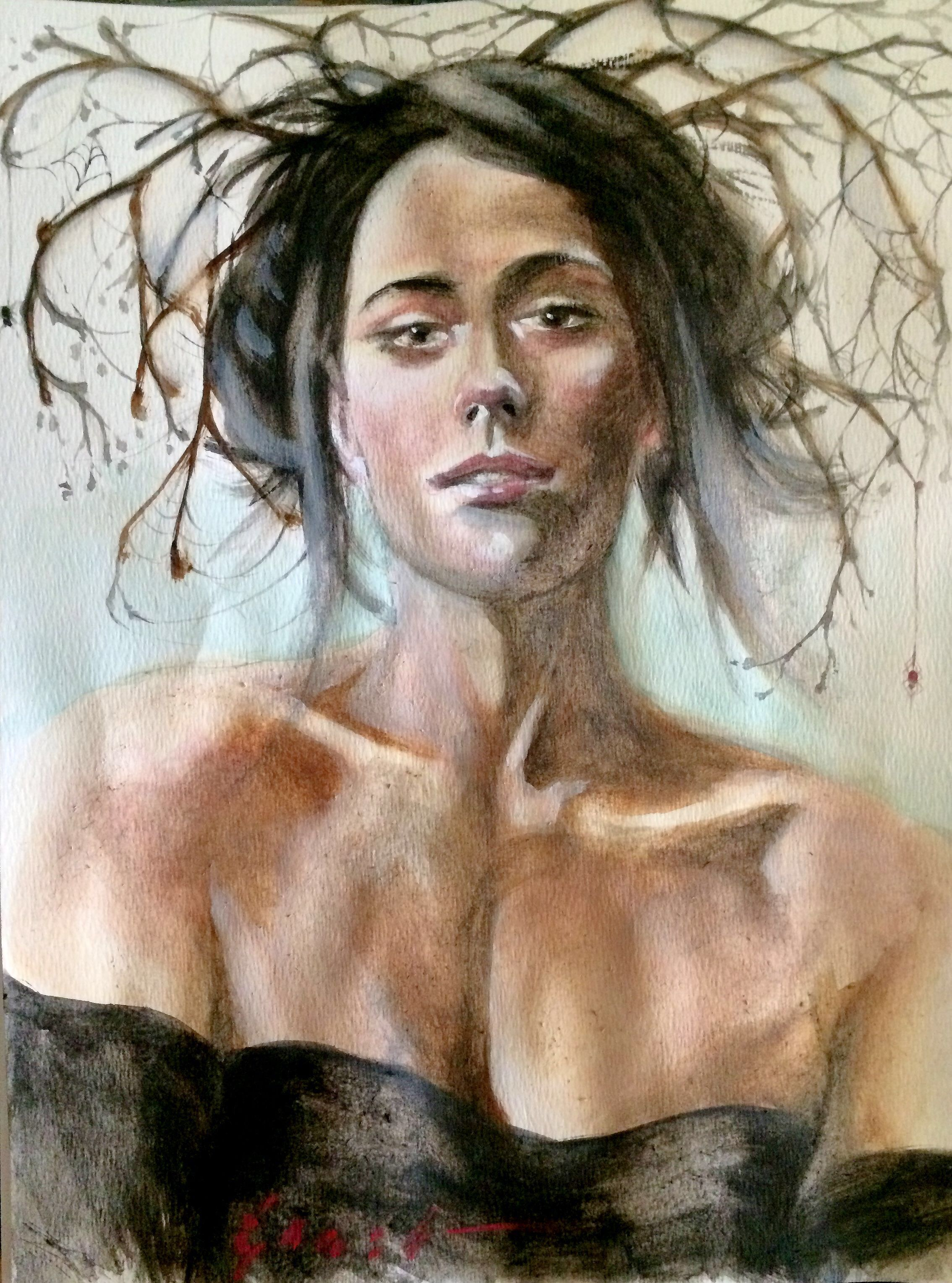 #Painting #sketch in #watercolor and #Gouache - Nathan Ernst  #portrait #woman