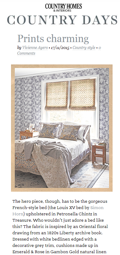 Simon Horn Bed Upholstered In Liberty Fabric Http Www Country
