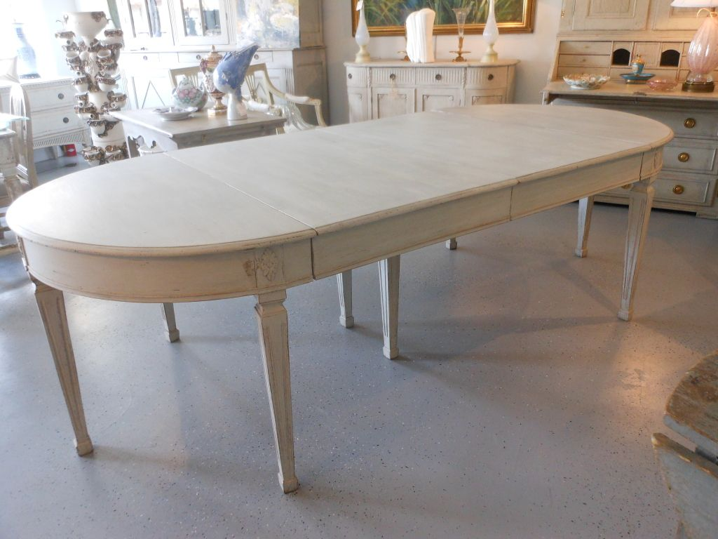 19th Century Antique Swedish Painted Dining Table