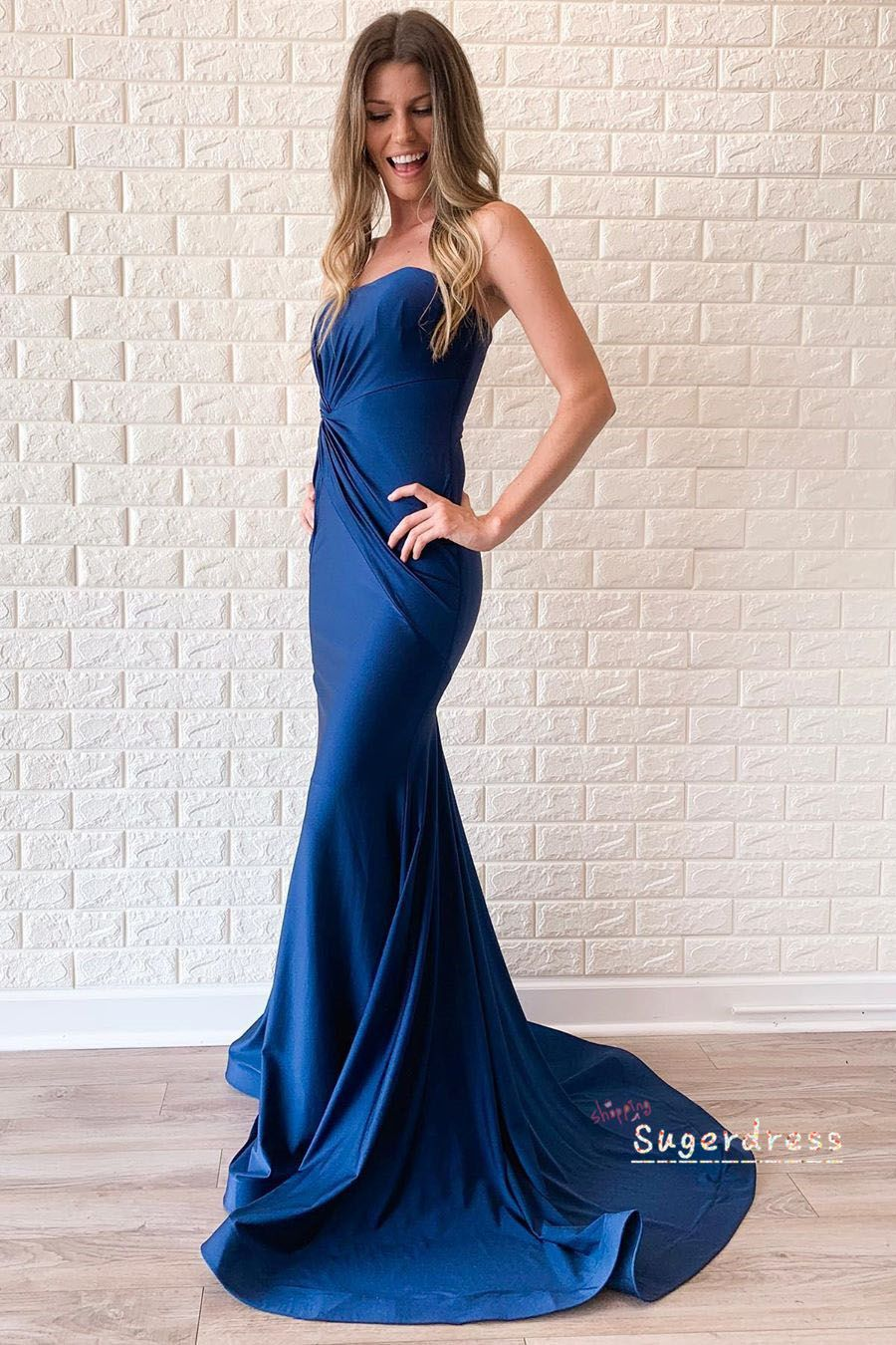 Elegant Strapless Pleated Fitted Navy Prom Dress From Sugerdress Evening Dresses Prom Navy Prom Dresses Prom Dresses [ 1350 x 900 Pixel ]