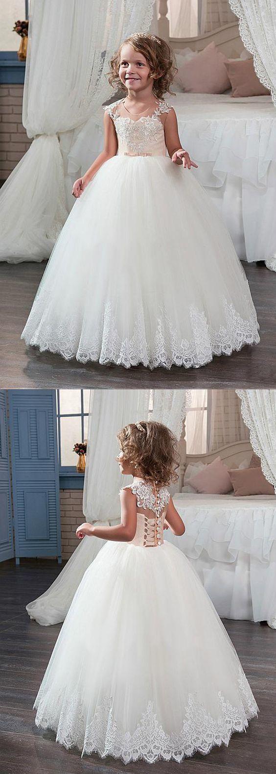 Stunning tulle u satin scoop neckline ball gown flower girl dress