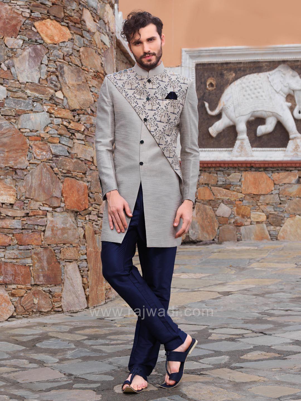 Grey color indo western with fancy buttons rajwadi indowestern
