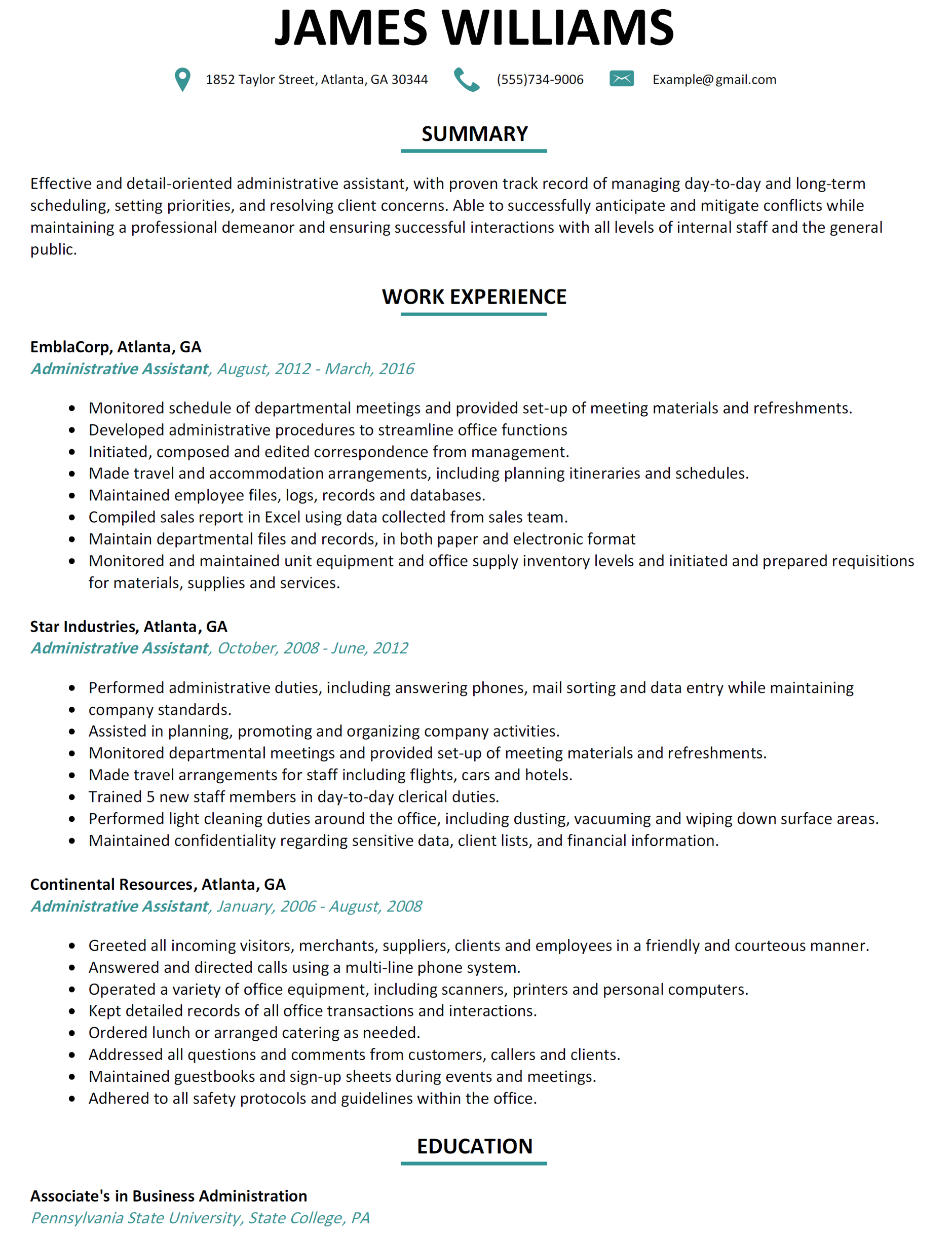 Professional Resume for Administrative assistant Bongdaao
