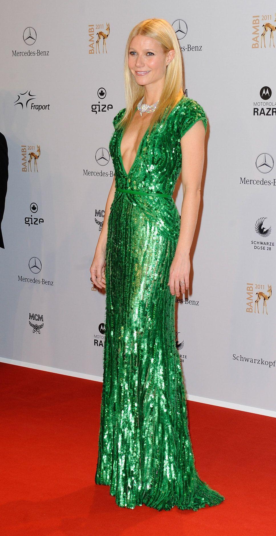 Gwennie in green Elie Saab.  Yes, girl.