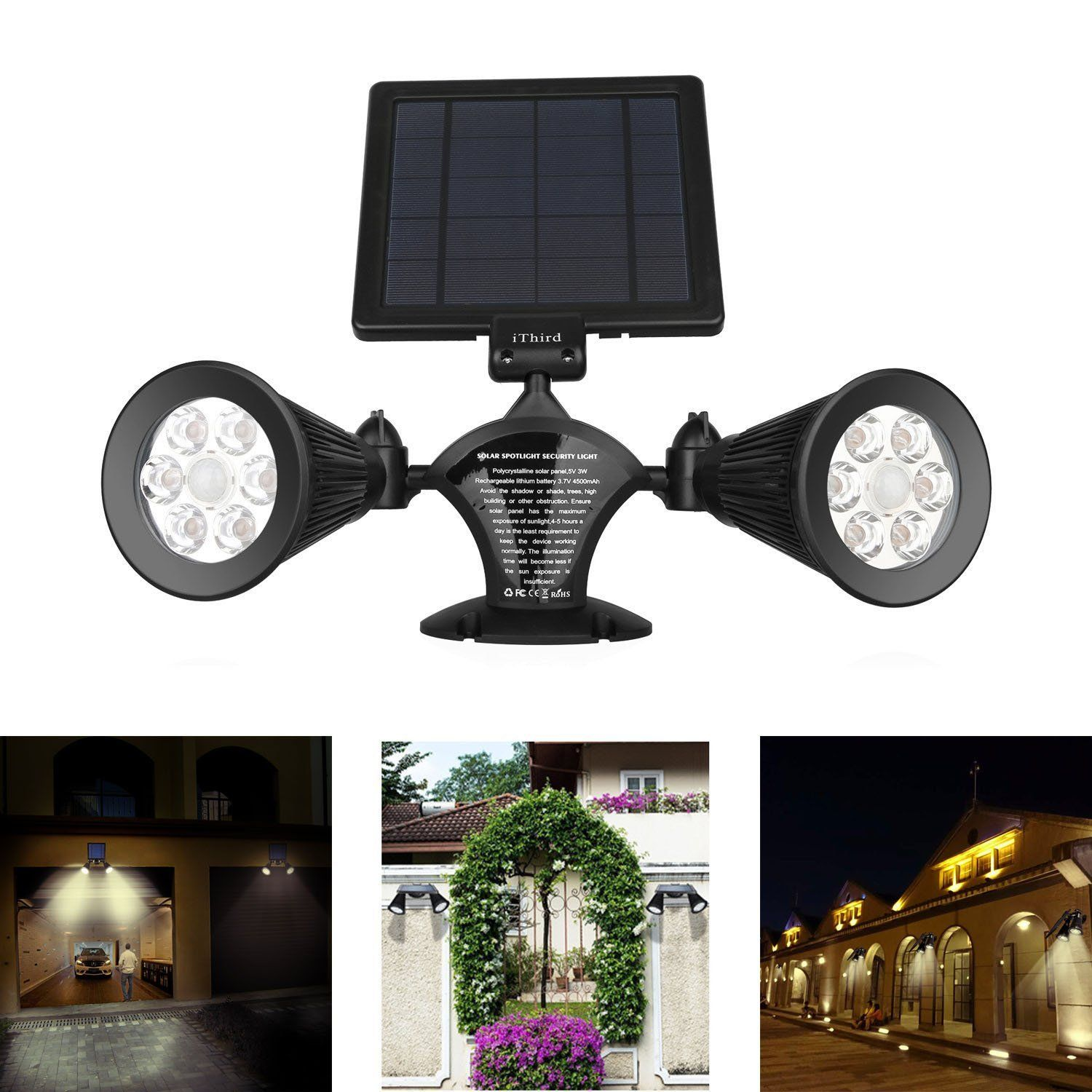 Solar lights outdoor motion sensor ithird 12 led 600lm solar solar lights outdoor motion sensor ithird 12 led 600lm solar powered security lights wall mounted aloadofball Gallery