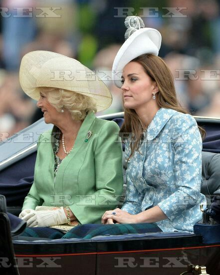 Trooping the Colour ceremony, London, Britain - 13 Jun 2015 Camilla Duchess of Cornwall and Catherine Duchess of Cambridge 13 Jun 2015