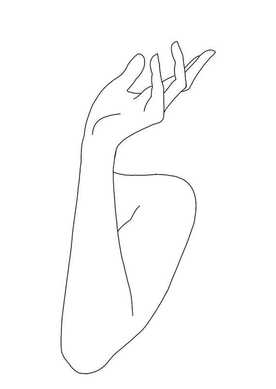 women s hands linear line hand drawing a6 by thecolourstudyshop