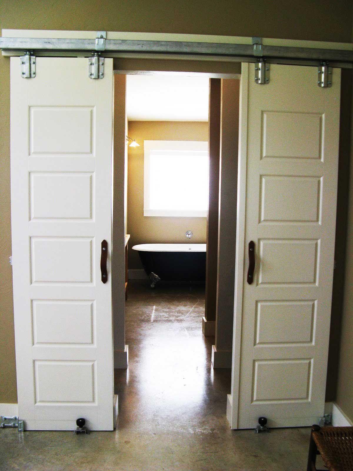 Elegant Modern White Varnished Wooden Two Sliding Door