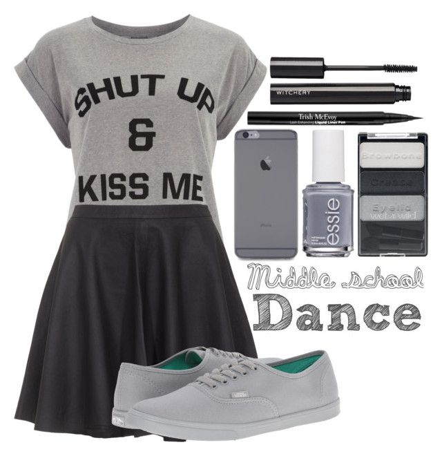 """""""Middle school dance #2"""" by lynn555 ❤ liked on Polyvore featuring Dorothy Perkins, Joie, Vans, Essie, Wet n Wild, Trish McEvoy and Witchery"""
