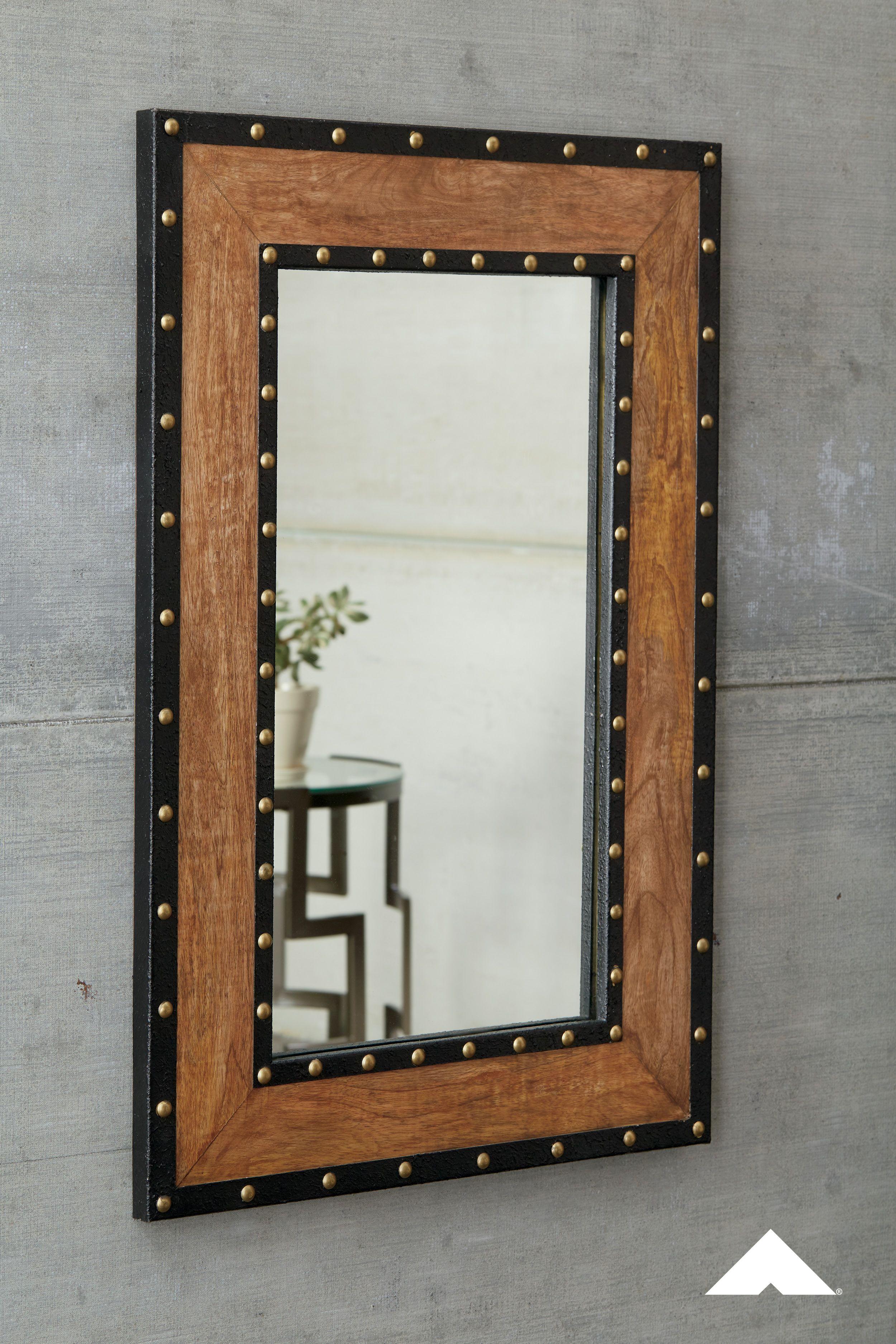 Dulcina Natural Accent Mirror Made Of Burnt Wood Dulcina Accent
