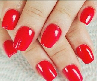 short square bright red acrylic nail extensions love