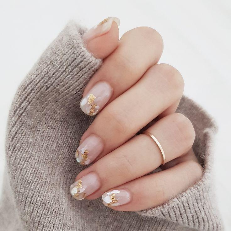 élégant nail art shell nail art or flocon nail art mariage nail art ...