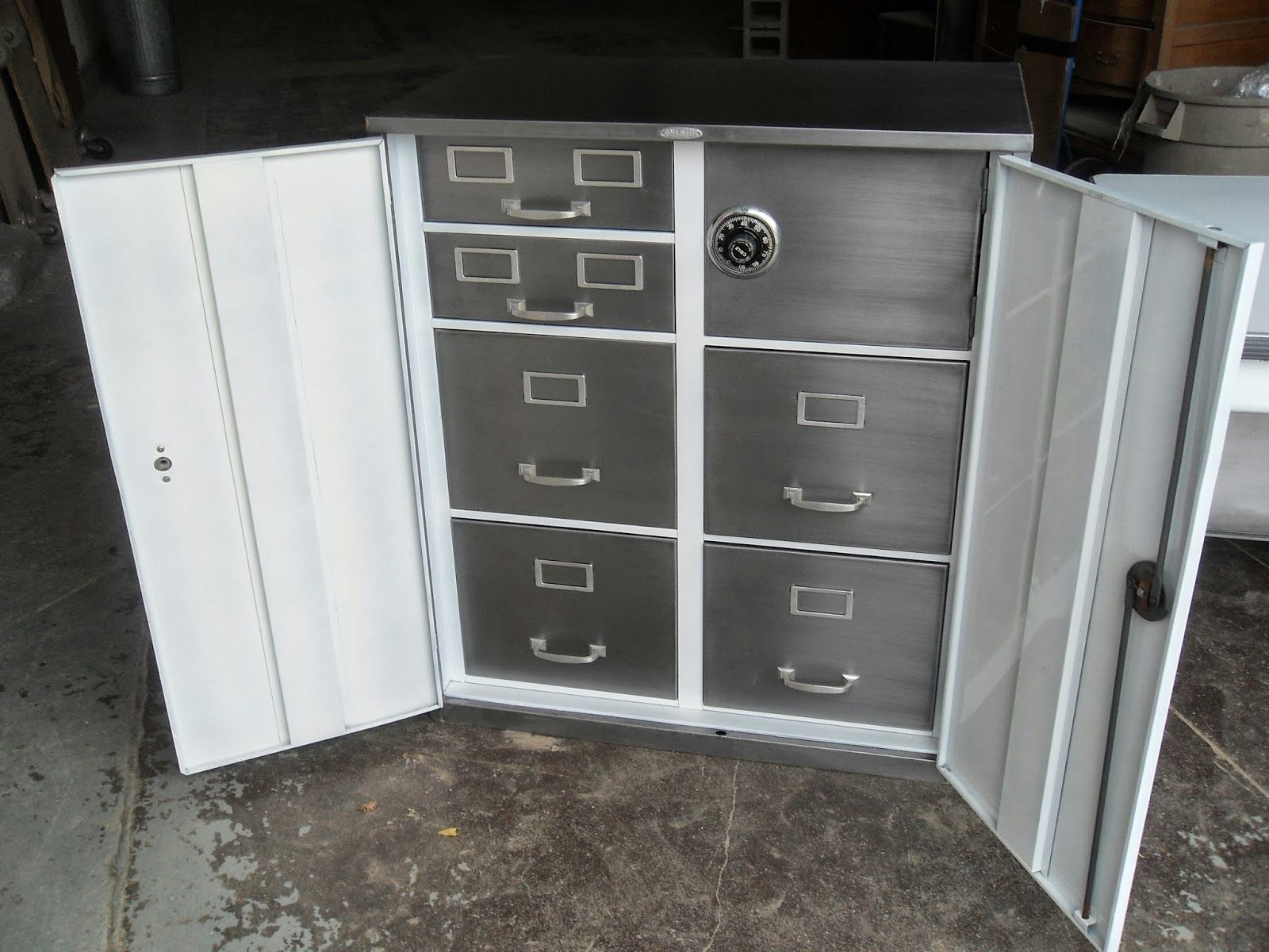 Refinished Vintage Steel Large Old Tanker Desks From The 50 S And 60 S Chairs Cabinets Lamps Trash Cans Downtown Tor Filing Cabinet Cabinet Cabinet Safes