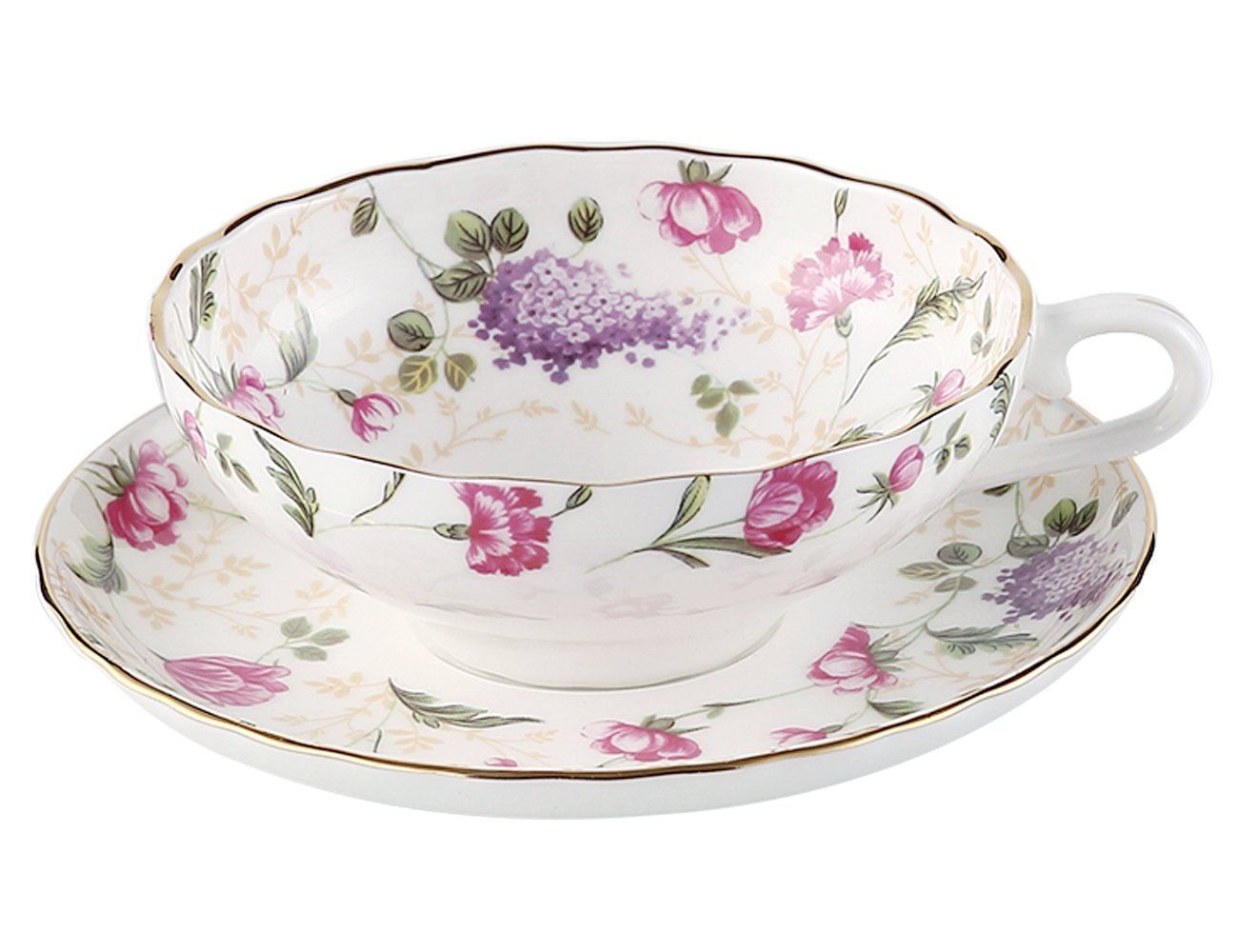 Jsaron Vintage Flower Tea Coffee Cup with Spoon and Saucer