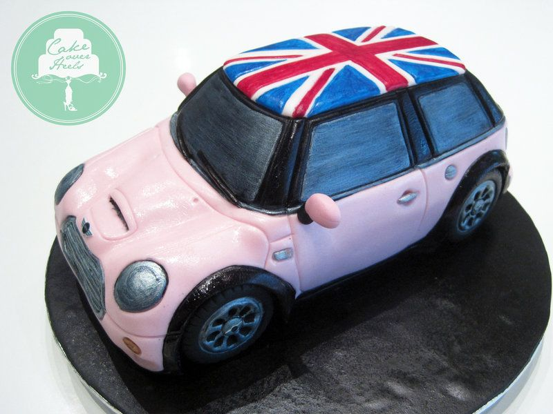 Pink Mini Cooper Cake by Sliceofcakedeviantartcom on