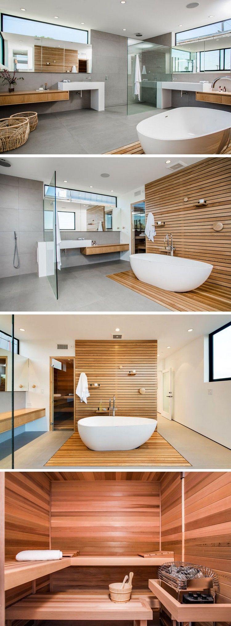 meubles scandinaves vintage dans la salle de bains, parement en bois et baignoire îlot