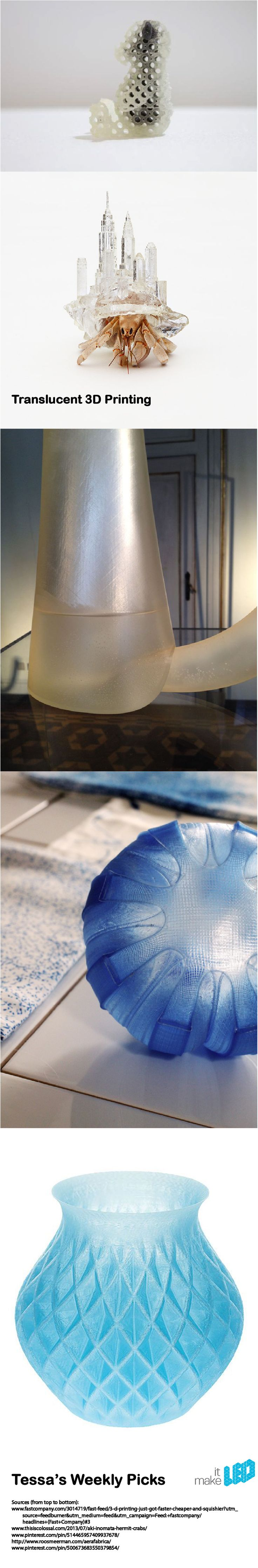 5 Translucent 3D printed items, from Tessas Weekly Picks