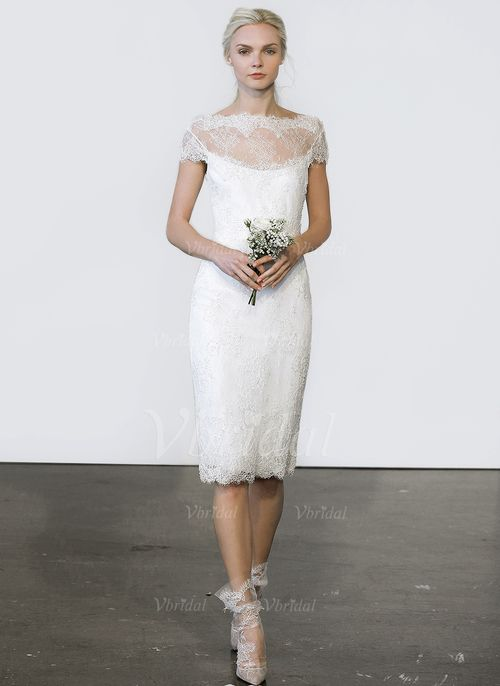 Wedding Dresses - $147.40 - Sheath/Column Scoop Neck Knee-Length ...