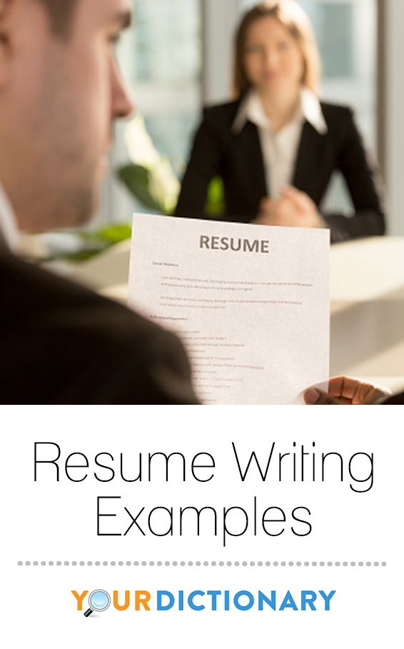 Resume Writing Examples Pinterest