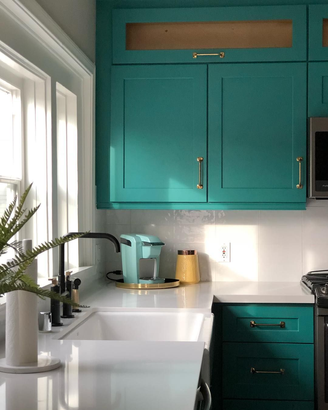 Teal Kitchen Cabinet Color With White Counters And White Tile Backsplash Kitchen Inspiration Design Diy Kitchen Renovation Teal Kitchen
