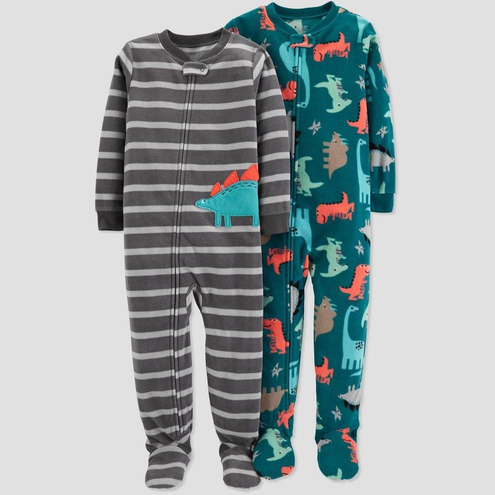 80548ce10 Toddler Boys  Fleece Stripe Dino Pajama Set - Just One You made by ...