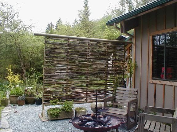 Easy Pool Deck W Privacy Screen: Branch Twig Privacy Screen