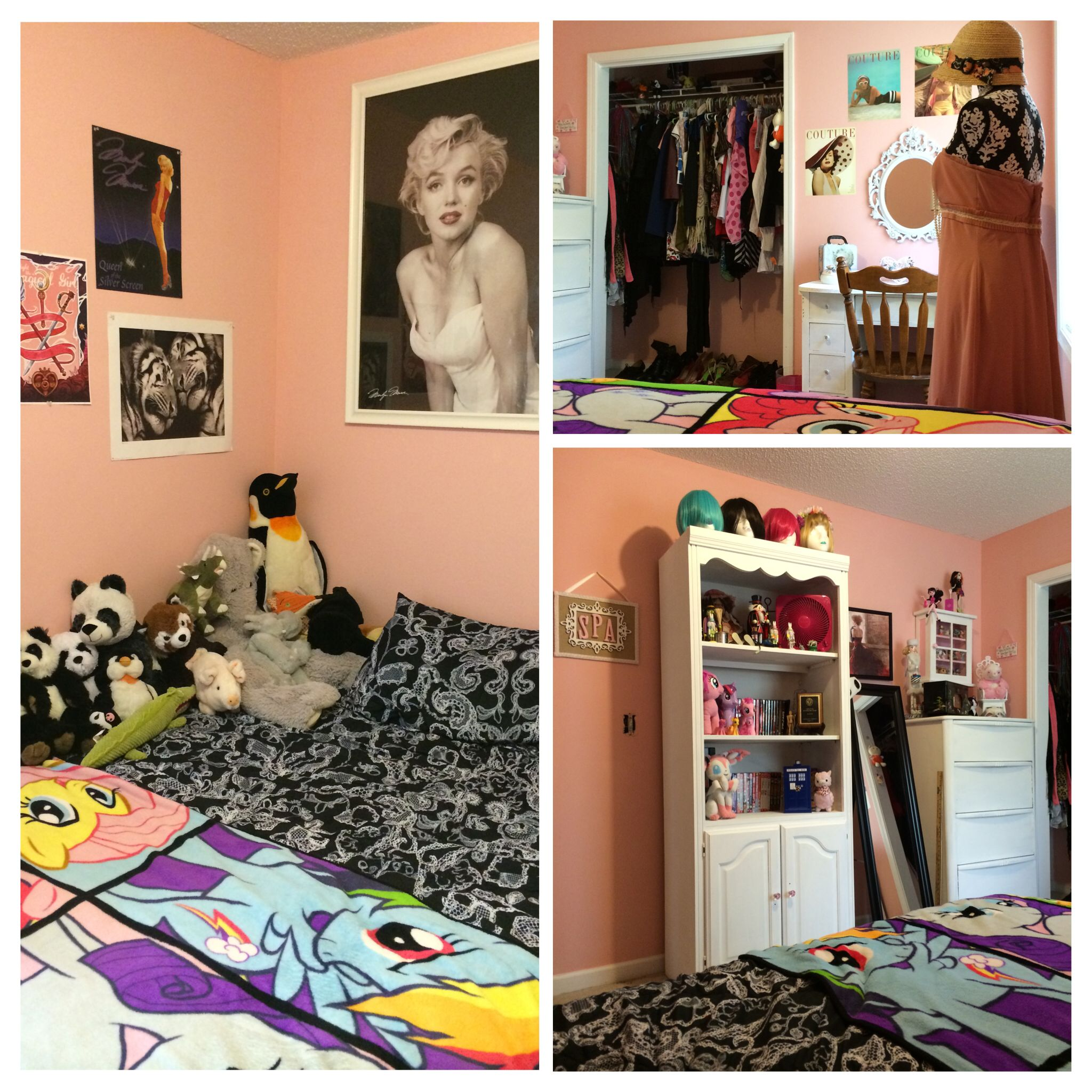 Complete room make over into a girly pink vintage hangout