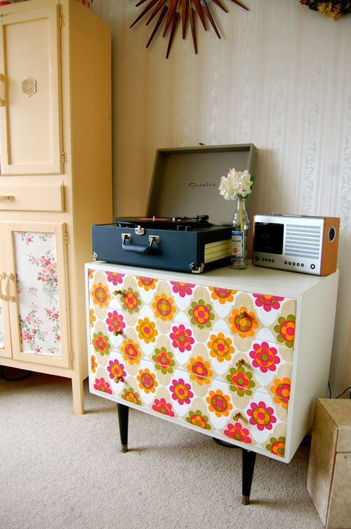 Cute Little Dresser Table Decoupage Drawer Fronts With Scrapbook