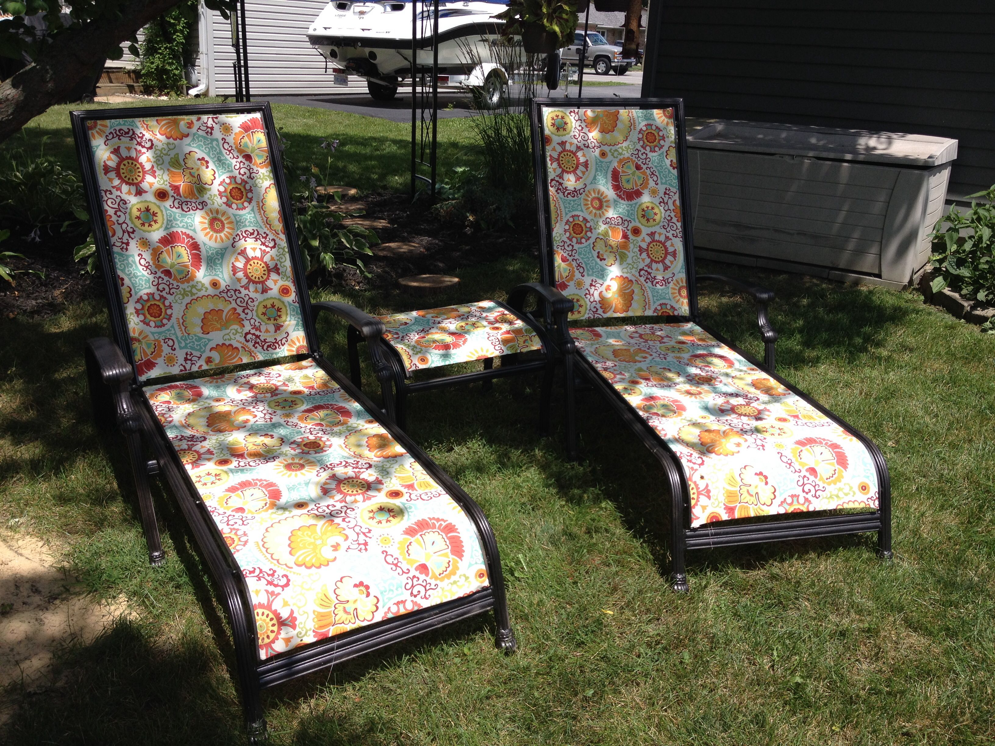 A Little Spray Paint And New Fabric Went A Long Way In Rejuvenating These Old  Chairs