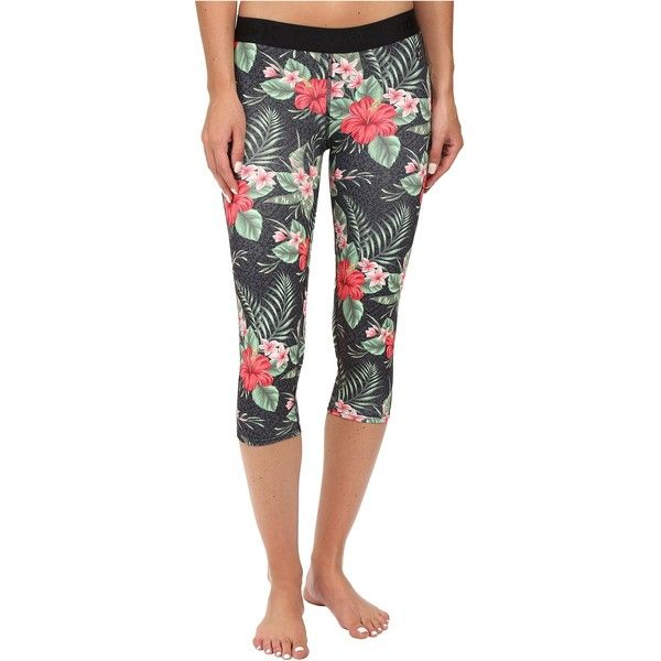 Hurley Dri-Fit Crop Leggings (Black Floral) Women's Workout (105 BRL) ❤ liked on Polyvore featuring activewear, activewear pants, multi, hurley sportswear and hurley