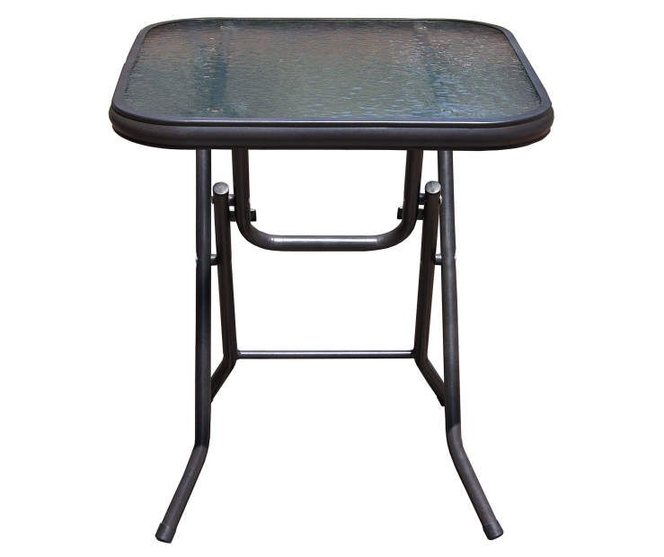 Captiva Designs Outdoor Side Tables-Foldable Patio Side Table with Tempered Glass Table Top and High-Strength Thickened Iron Pipe Bracket for Living Room,Sofa,Bedroom and Garden,1 Pack,Blue