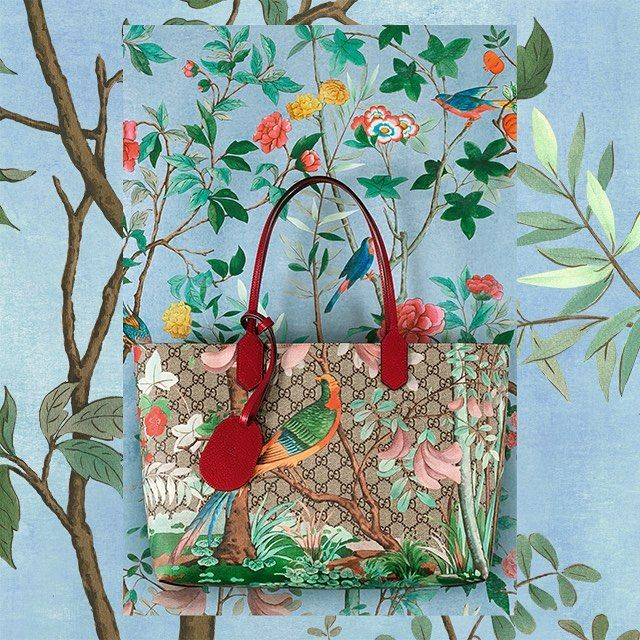 3419d6f1ce3 The bird and plants on this  GucciTian tote color the Houses GG motif in  brushstroke