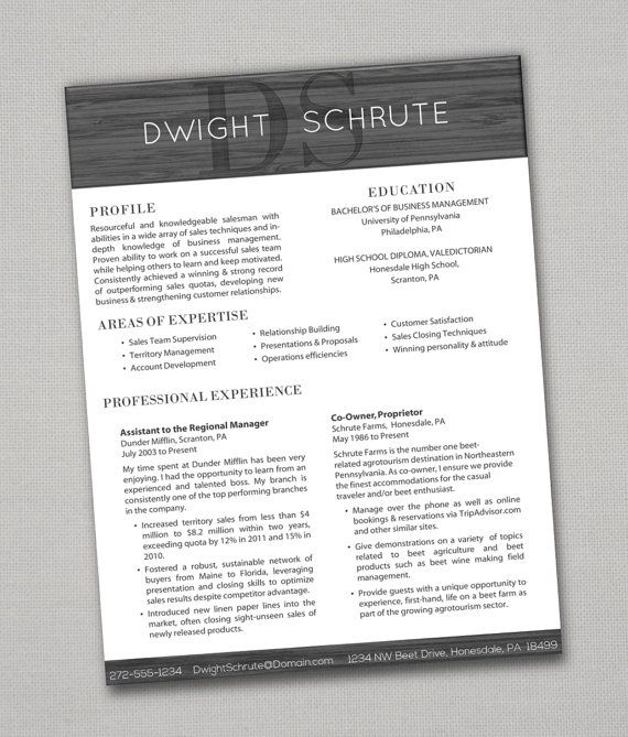 Resumes that actually pass the 6 second test! All resumes + - dwight schrute resume