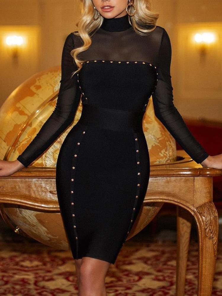 3e4c15e36d2 Rivets Embellished Mesh Yoke Bodycon Dress  ivrose ivrose jumpsuit